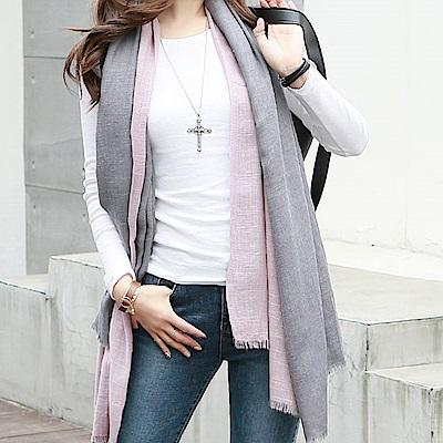 正韓 柔軟針織拼色流蘇披肩圍巾(共四色)-N.C21