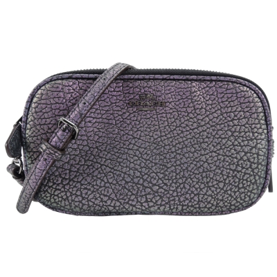 COACH 專櫃款馬車 LOGO 皮革小手拿/斜背包(幻彩紫)