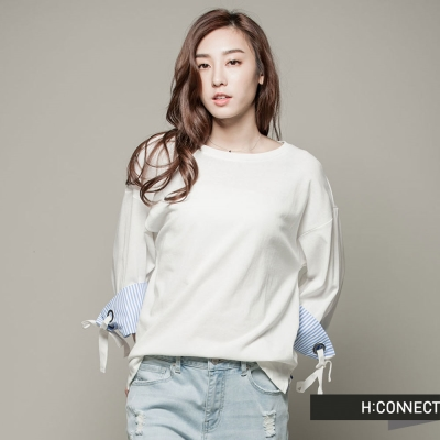 H-CONNECT-韓國品牌-女裝-袖口條紋綁帶上衣-白-快