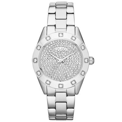 DKNY 璀璨靈魂晶鑽時尚腕錶-銀/36mm