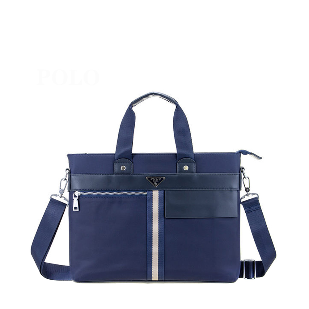 【POLO】線條拉鍊橫式側背包-藍色