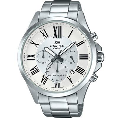 EDIFICE 經典簡約三眼錶( EFV-500D-7A)白/47.2mm