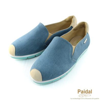 Paidal 經典款單色簡約休閒鞋樂福鞋懶人鞋-藍