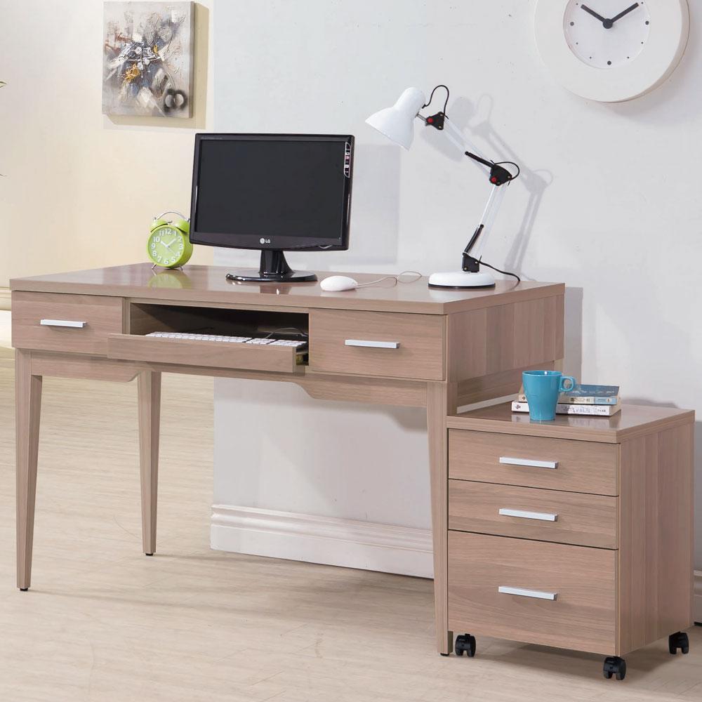品家居 迪斯克4尺電腦書桌(含活動櫃)-120.3x60x78cm-免組