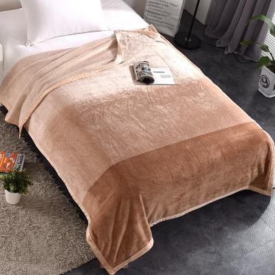 HOYACASA優雅棕 法蘭絨四季舒柔包邊毯