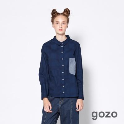 gozo 隱約格紋造型口袋襯衫(二色)