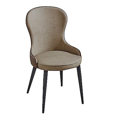 AT HOME-富林仿亞麻皮革高背餐椅會議洽談椅(50*47*93cm)