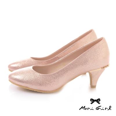 Mori girl光澤亮片後水鑽珍珠中低跟婚鞋 粉