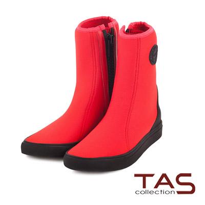 TAS-太妃Q系列-輕盈潛水材質運動風短靴-熱力紅