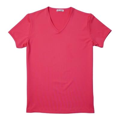 《ATTi TUDE》繽紛亮彩彈性運動V領短袖T恤(五色可選)