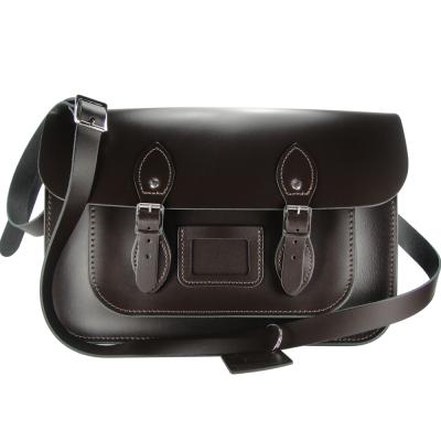The Leather Satchel 英國手工牛皮劍橋包 肩背 側背包 可可黑 14吋