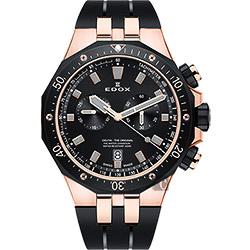 EDOX Delfin 水上冠軍專業200米防水計時碼錶-黑x玫瑰金框/43mm