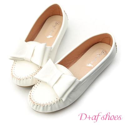 D+AF 俏皮可愛‧MIT大蝴蝶結莫卡辛豆豆鞋*白