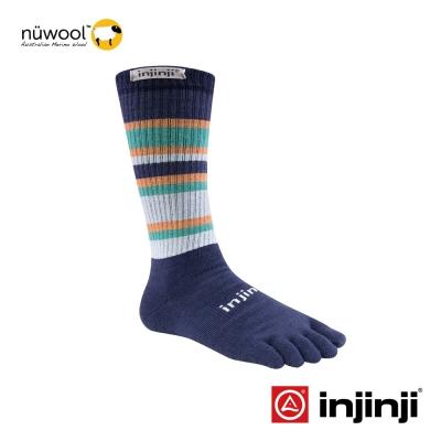 【Injinji】Outdoor戶外羊毛五趾中筒襪-靛/灰