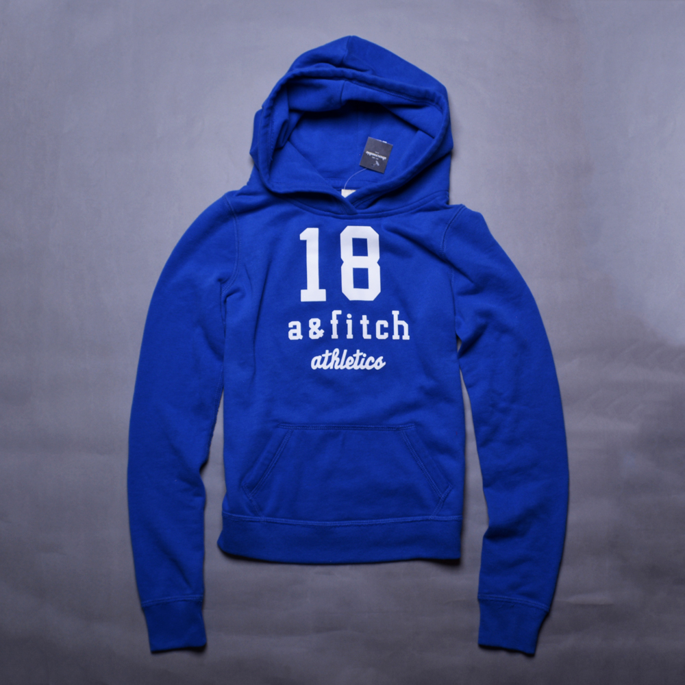 A&F Abercrombie &Fitch LOGO18印花小孩連帽長T恤-寶藍
