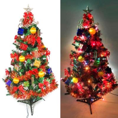 幸福3尺/3呎(90cm)一般型裝飾綠聖誕樹 (紅彩禮物盒系)+100燈鎢絲樹燈串一條