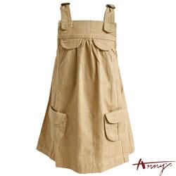 Anny素面雙口袋圓環造型吊帶裙*9410卡其