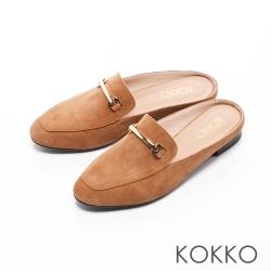 KOKKO-復刻精典金屬鍊方頭平底穆勒鞋-棕