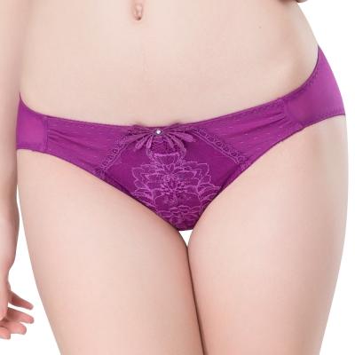 思薇爾 仲夏之夢系列M-XL蕾絲低腰三角內褲(蜀葵紫)
