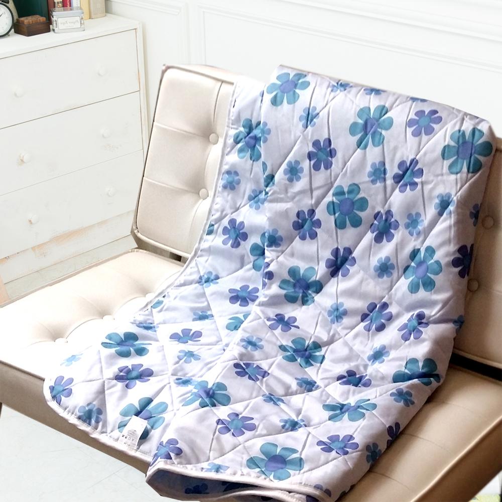 夢蝶物語-台灣製造-舒柔涼被(藍色小花夏被)5*6尺-1件