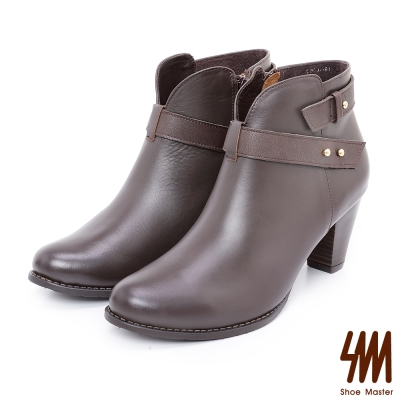 SM-手工全真皮-V型素面繞踝粗高跟短靴-咖啡
