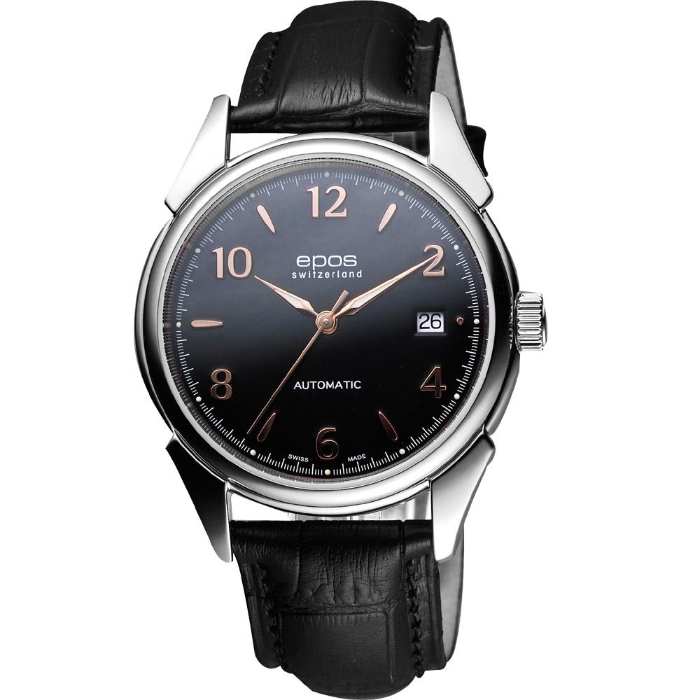 epos Originale 永恆經典機械腕錶-黑/39mm
