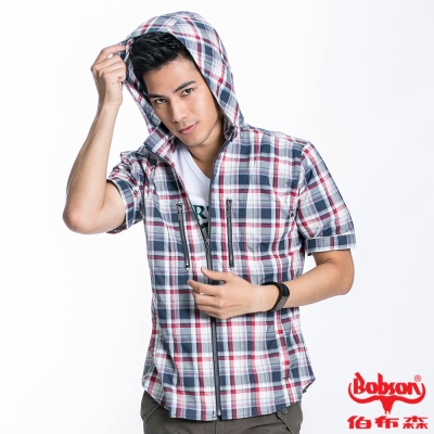 BOBSON 男款連帽格紋短袖外套(紅藍22020-53)