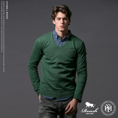 Roush 韓版雙V領素面針織衫 - 4色