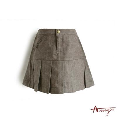經典棉質口袋百褶裙*9415咖啡