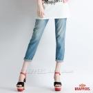 BRAPPERS 女款 Boy Firend Jeans 系列-女用彈性七分反摺褲-淺藍