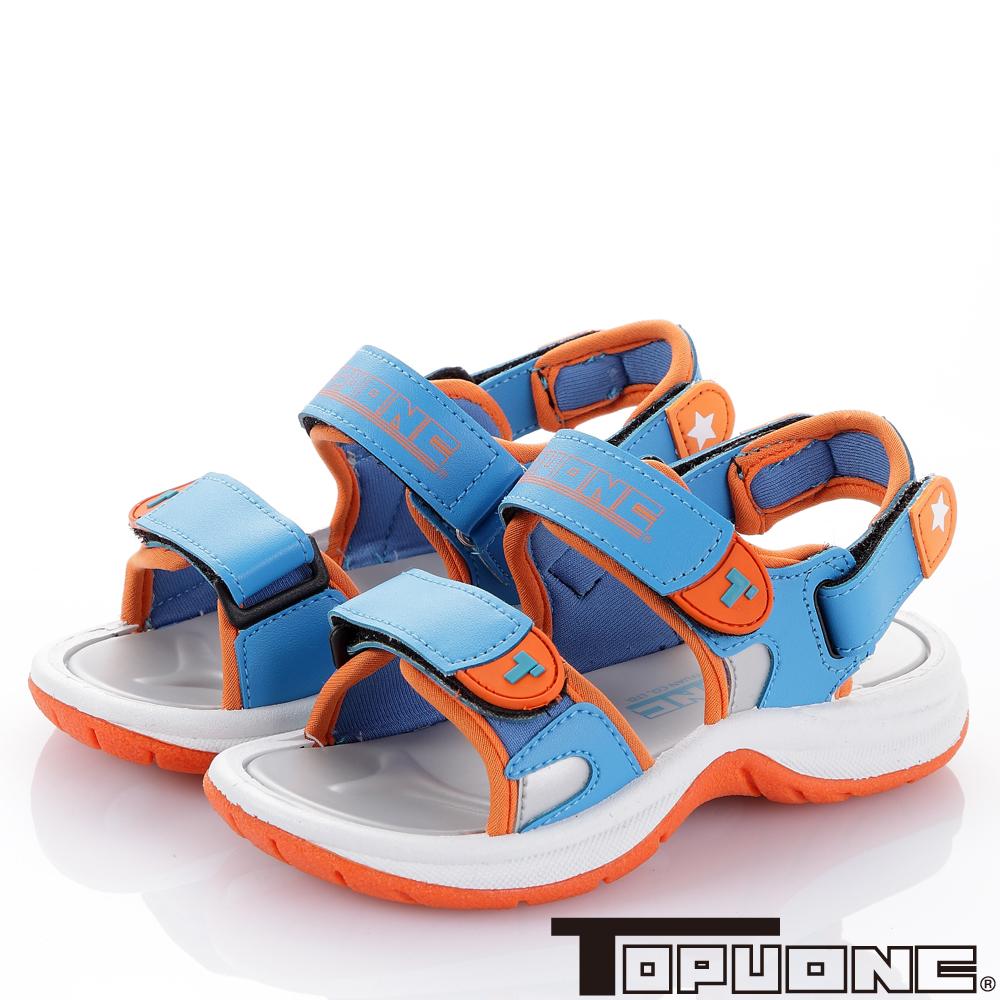 TOPUONE 舒適減壓吸震防滑休閒涼鞋-土耳其藍(中大童)