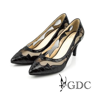GDC-真皮格紋鉚釘透膚高跟鞋-黑色
