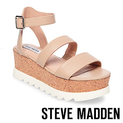 STEVE MADDEN-KIRSTEN 二字帶繫踝軟木厚底涼鞋-裸膚