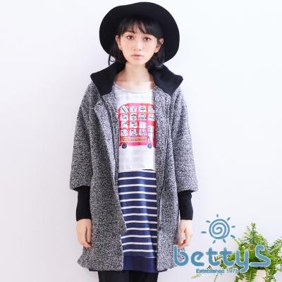 betty's貝蒂思 高領羅紋復古大鈕扣大衣(灰色)