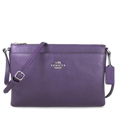COACH 馬車Logo鵝卵石紋皮革雙層斜背包(紫羅蘭色)