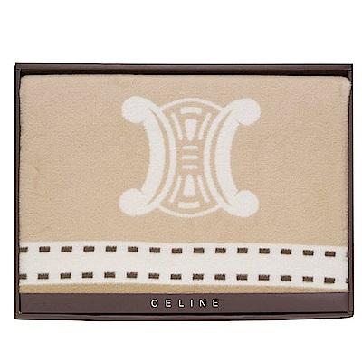 【CELINE】經典皇家BLASON LOGO純棉毛蓋毯禮盒(駝色)