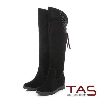 TAS 蝴蝶燙鑽麂皮內增高長靴-華麗黑