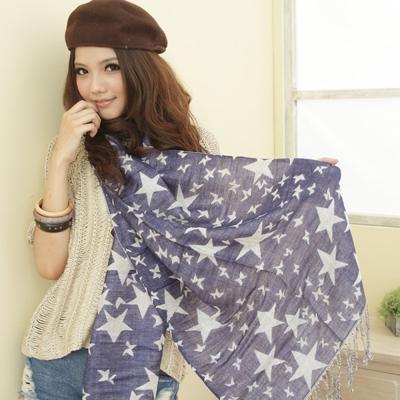 I-shi  雙面五角星-厚款圍巾(藍/白)
