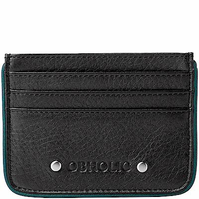 OBHOLIC 黑色牛皮票卡夾卡片套