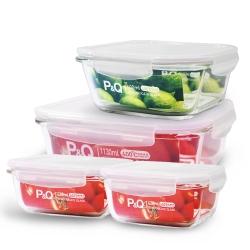 樂扣樂扣 P&Q巧婦完美耐熱玻璃保鮮盒4件組
