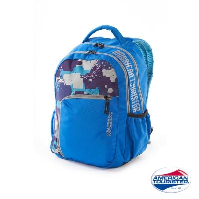 AT美國旅行者-潑墨拼色雙層休閒後背包-藍