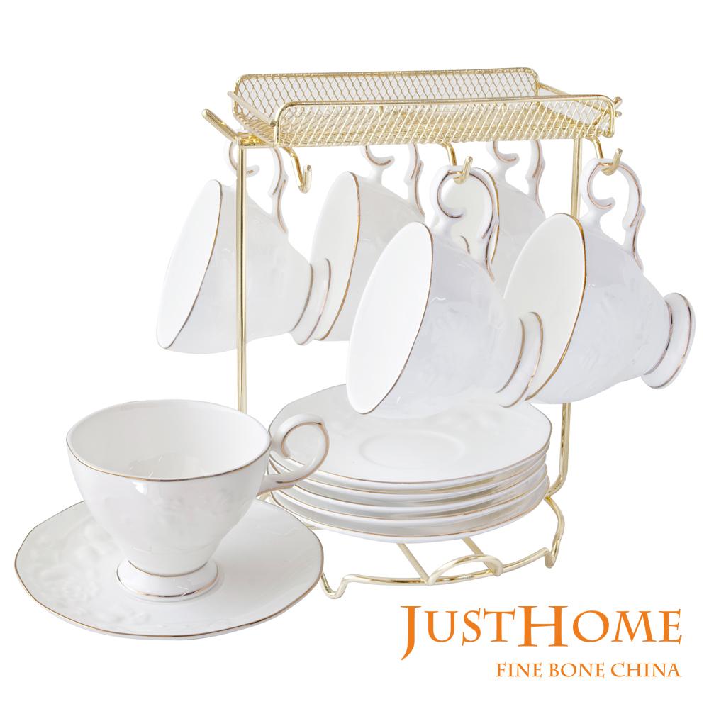Just Home金雅浮雕骨瓷6入咖啡杯盤組附架附禮盒