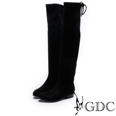 GDC-秋冬基本款後綁帶布面過膝膝上長靴-黑色
