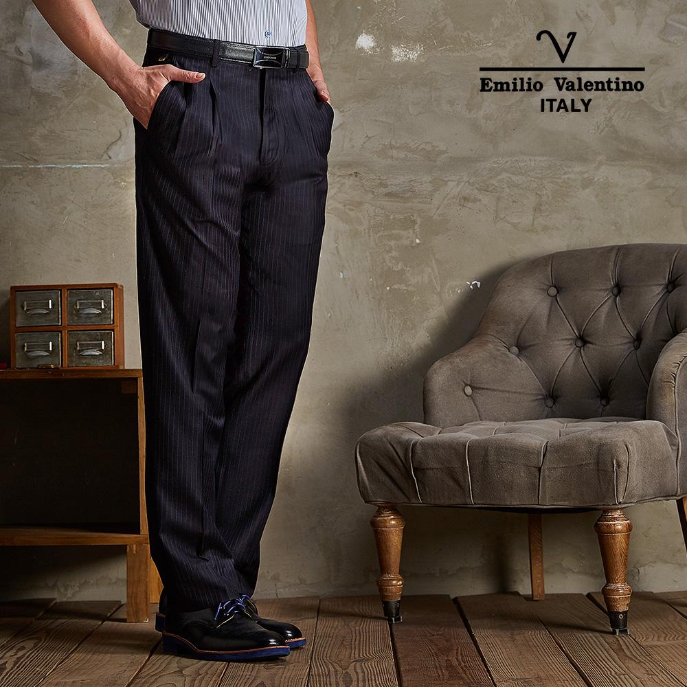 Emilio Valentino- 范倫鐵諾雙褶西褲_深藍(75-5B706)