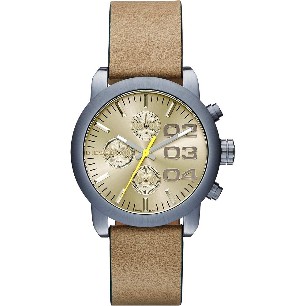 DIESEL Flare 美式狂潮計時腕錶-黃x卡其/40mm