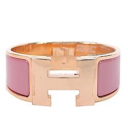 (無卡分期12期)HERMES Clic H PM 經典LOGO設計手環(莓粉x玫瑰金)