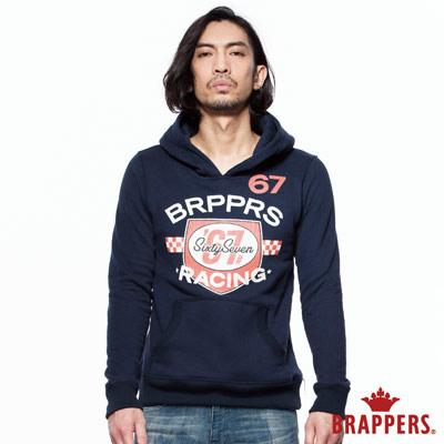 BRAPPERS 男款 盾牌印刷連帽長袖上衣-藍