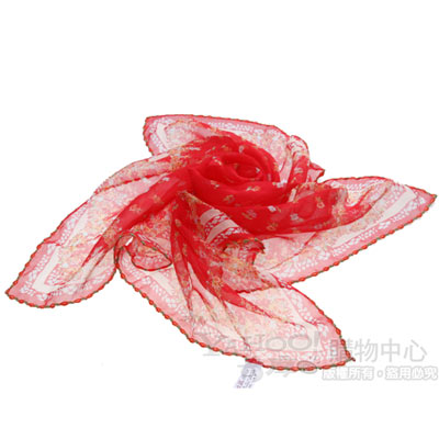 ANNA SUI 魔女之花正方絲巾(紅)