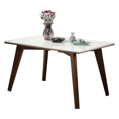 居家生活 克瑞雪4.3尺胡桃原石餐桌