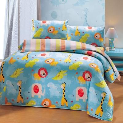 鴻宇HongYew 100%美國棉 防蹣抗菌-快樂獅子 雙人床包枕套三件組